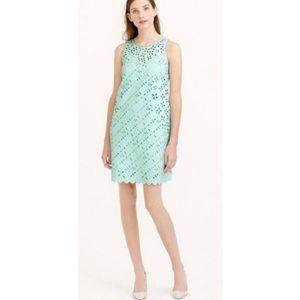 J. Crew Laser Cut Shift Dress Mint Green 12